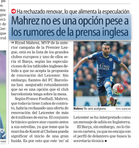 Riyad Mahrez Mundo Deportivo July 17th