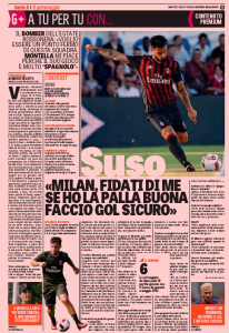 Suso Gazzetta dello Sport August 2nd