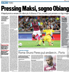 Pedro Obiang Tuttosport August 12th