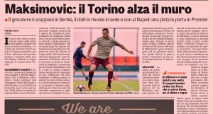 Gazzetta dello sport Maksimovic August 15th