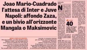 Juan Cuadrado Gazzetta dello Sport August 24th