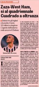 Simone Zaza Gazzetta dello Sport August 26th