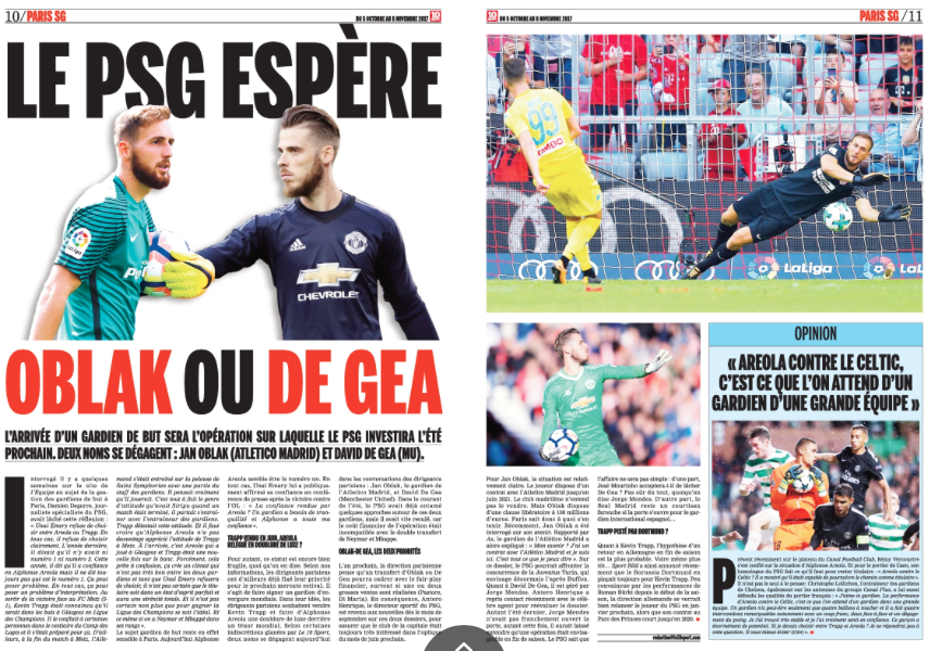 Paris Saint-Germain ready to move for David de Gea