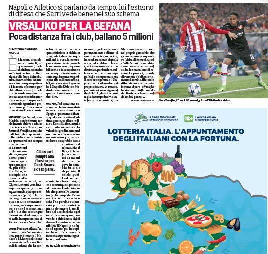 Napoli Reaches Agreement With Atletico Madrid Defender Sime Vrsaljko