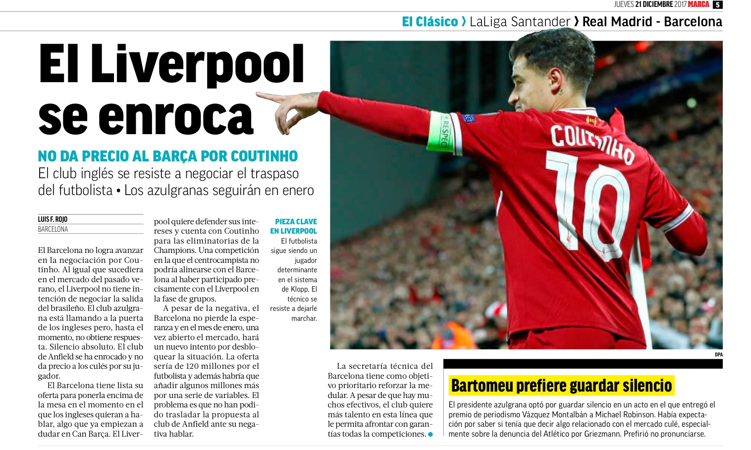 Barcelona get Coutinho boost as Lemar favours Liverpool over Arsenal