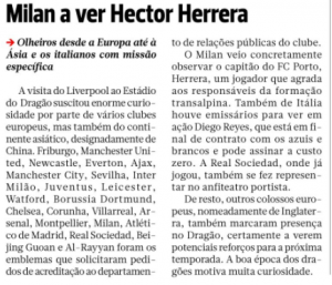 Watford scout in Portugal, reasonable chance Hector Herrera on the agenda again