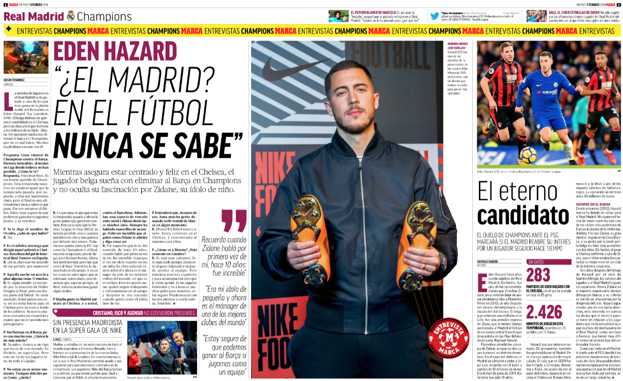 Hazard drops Real hint: 'In football you never know'