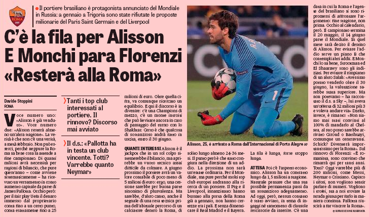 Liverpool talks for €70m Alisson