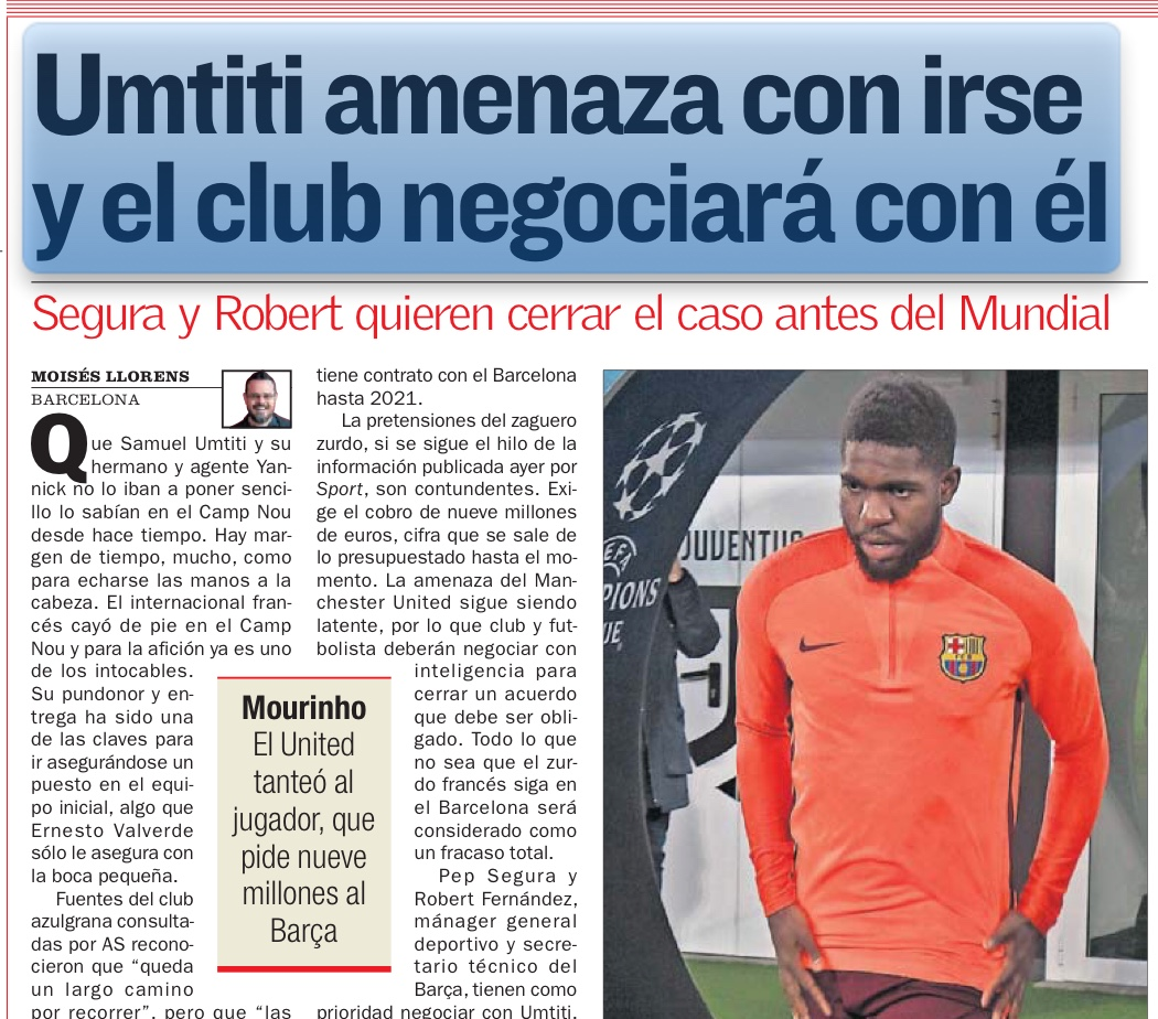 Samuel Umtiti gives cryptic response when quizzed about Manchester United's interest