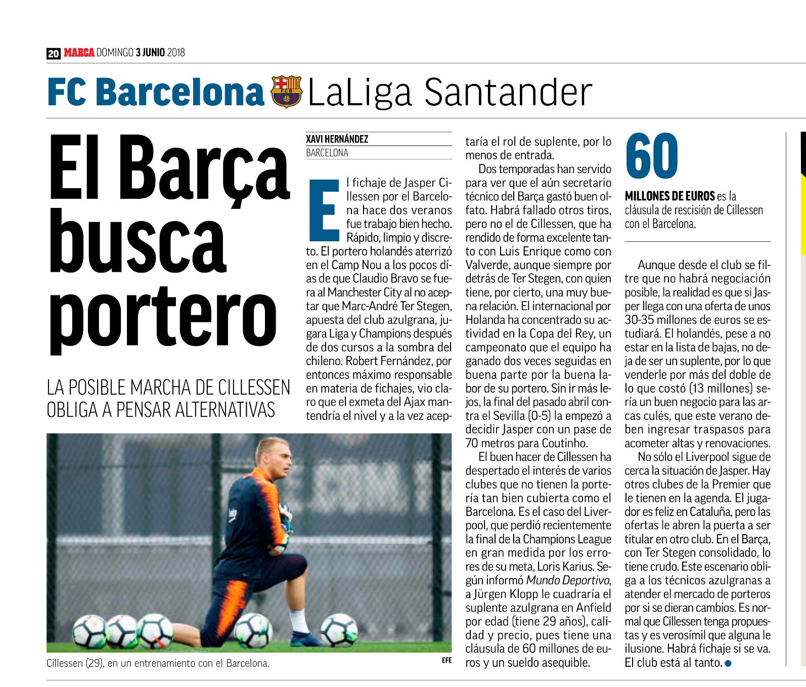 Arsenal and Chelsea join the race for Jasper Cillessen