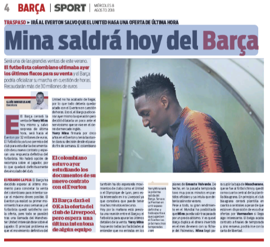 Everton will pay €32m to Barcelona for Mina and there will be no buyback option. He is set to sign a five-year deal with the Premier League outfit