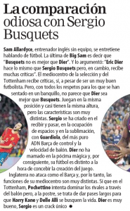 Barcelona newspaper explains why it's 'odious' to compare Tottenham's Eric Dier to Sergio Busquets