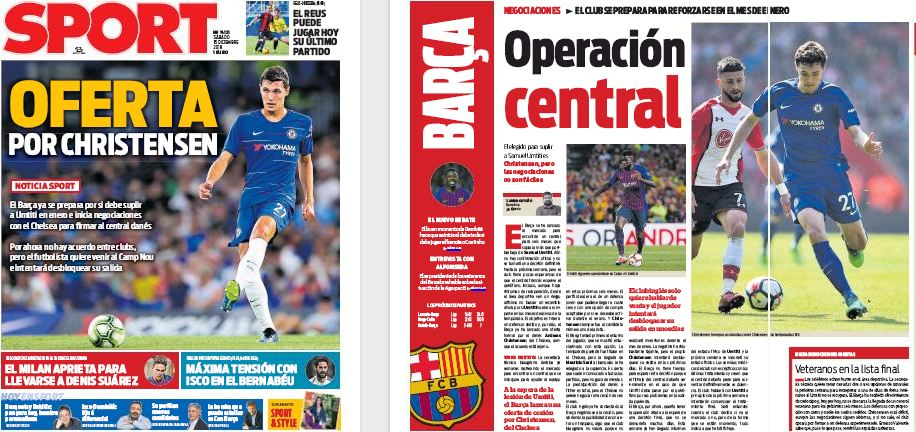 Front page report claims Barcelona make 'formal offer' for January transfer, player wants move