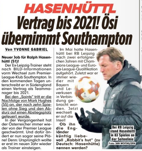 From Germany: Length of Ralph Hasenhüttl's Southampton contract, details, when he'll sign it