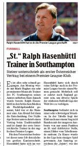 From Austria: Ralph Hasenhüttl has now signed Southampton contract
