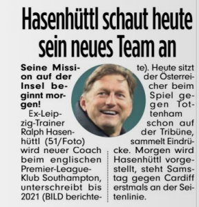 From Germany: Ralph Hasenhüttl in stands tonight, presented by Southampton tomorrow