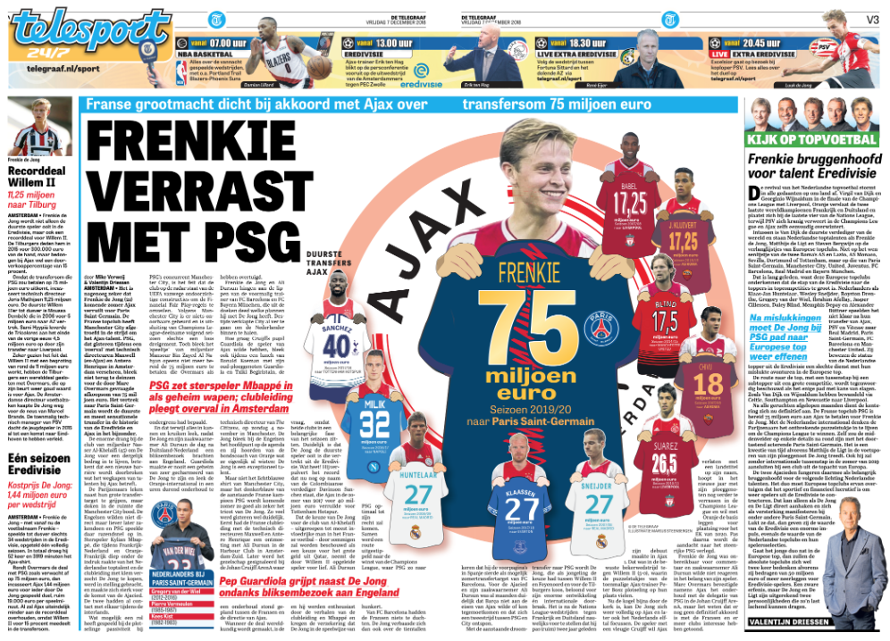 PSG won't pay 70m euros for De Jong