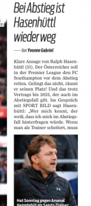Ralph Hasenhüttl tells German media he'll leave if Southampton relegated, and wages for manager revealed