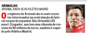 From Portugal: Arsenal interest in fullback pushed, potential negotiating price reported