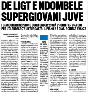 From Turin: Worry for Juve that Man United could push ahead for Ndombélé & De Ligt