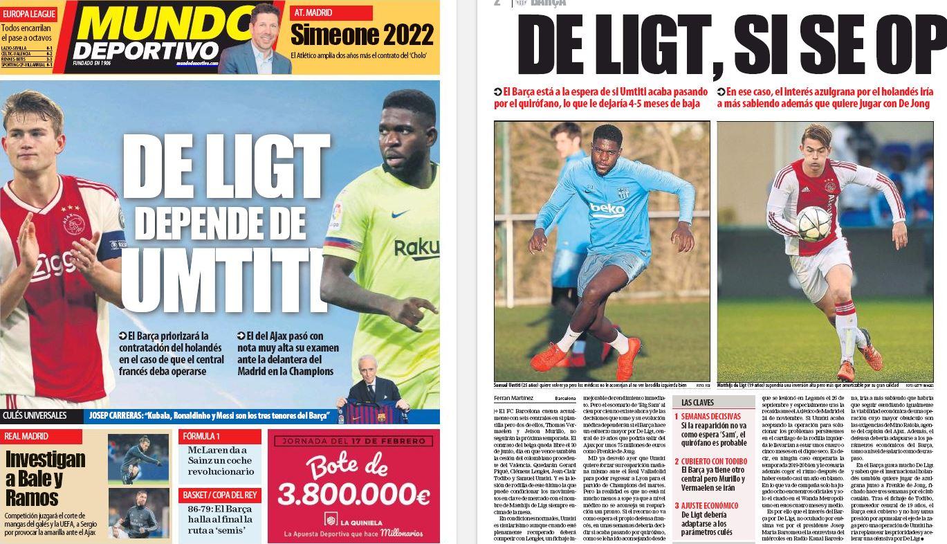 Barcelona president confirms interest in Matthijs de Ligt
