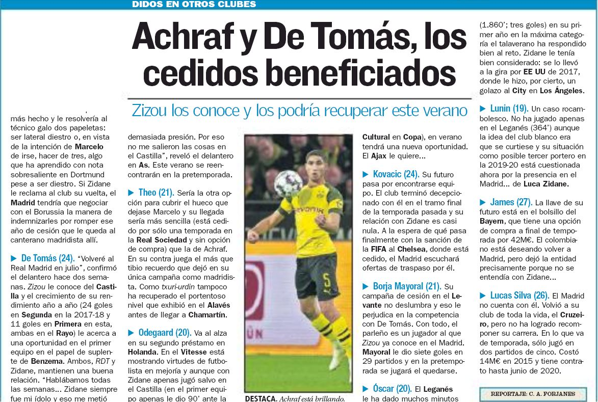 Tuesday's edition of AS takes a look at what would happen to those players who are currently out on loan and Kovacic also gets a mention