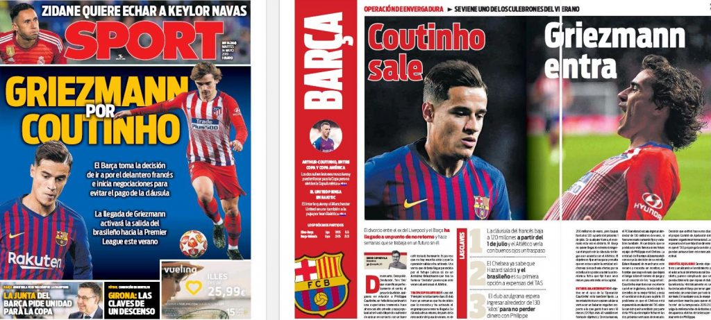 Front page report claims star's arrival at Barcelona will 'activate' departure of Camp Nou player