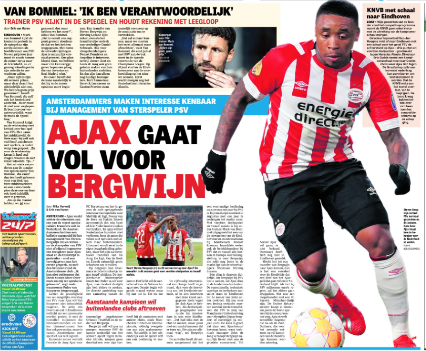 Bergwijn leaving Manchester United contacts 'to his agent' – Player is big story in Netherlands