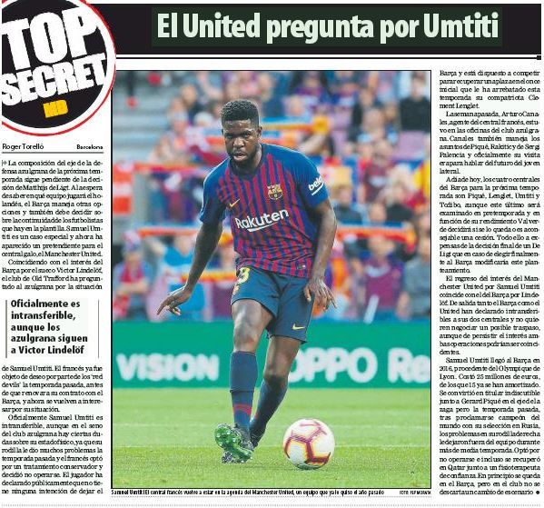Barcelona and Man Utd revisit Umtiti talks