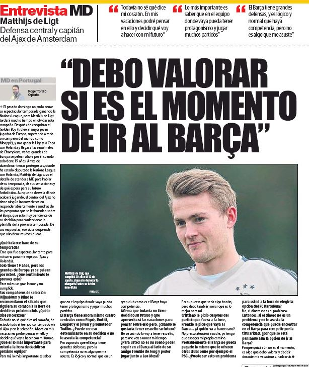 De Ligt: Barcelona, Juventus target to choose his own path