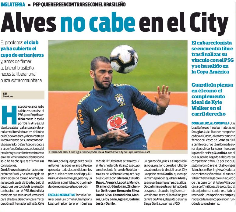 Alves is now back in Europe and he has two interesting offers
