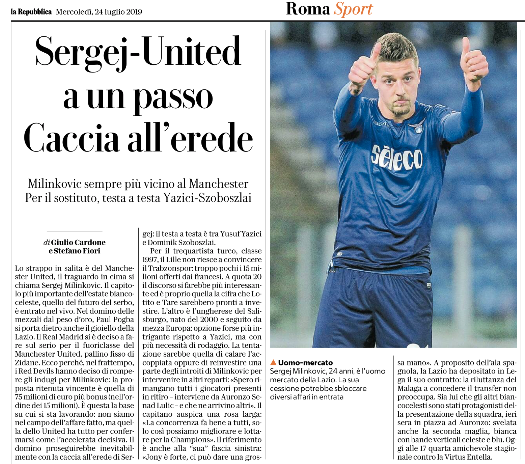 Manchester United 'ready to close' deal for Lazio's Sergej Milinkovic-Savic