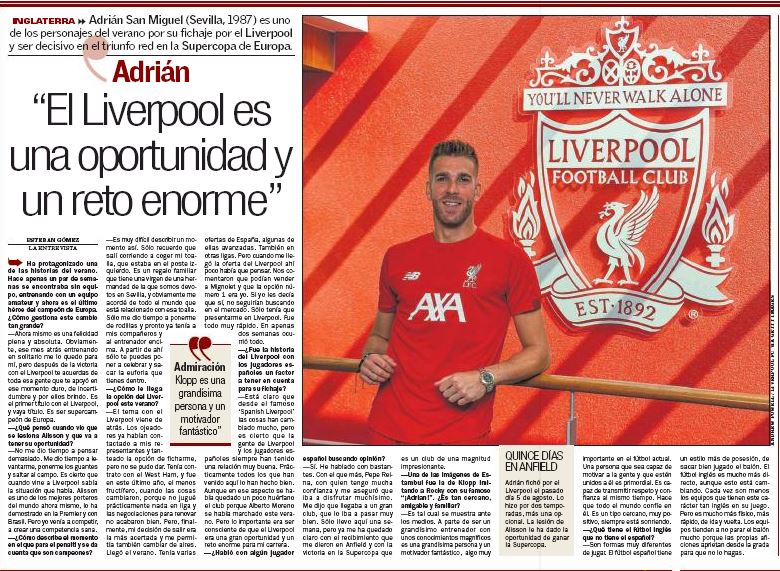 Adrián on leaving West Ham, rejecting other offers for Liverpool and 'great person' Klopp