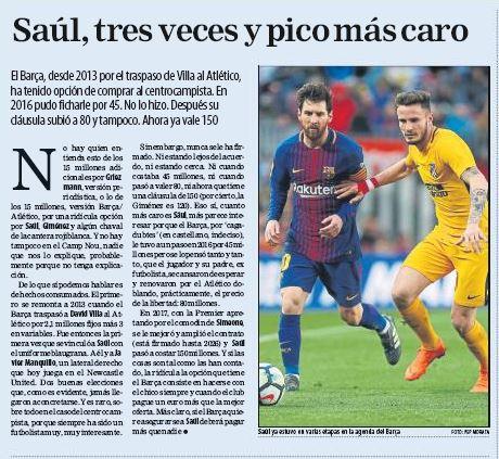 Barça pay Atletico 15 million for Griezmann, Saul & Gimenez — El Mundo