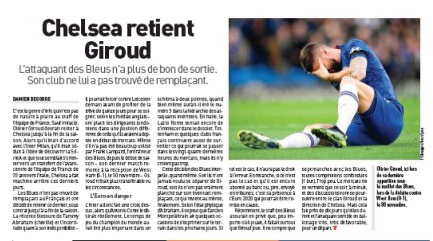 Tottenham have agreed fee with Chelsea for striker Olivier Giroud