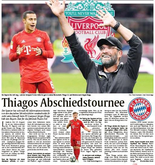 Bayern Munich Provide Transfer Update On Thiago