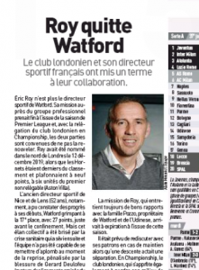 From France: Watford considering new structure as director leaves, midfielder set to follow