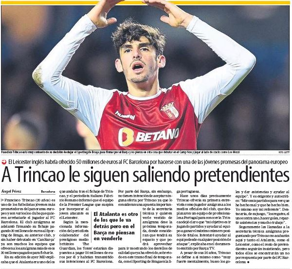 Leicester make ambitious bid for Barcelona signing Francisco Trincao