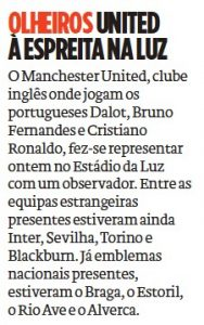Manchester United had official in Lisbon last night – Transfer planning starting with scouting mission