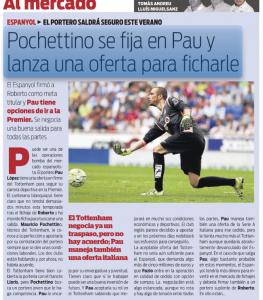 Pau Lopez Mundo deportivo August 1st